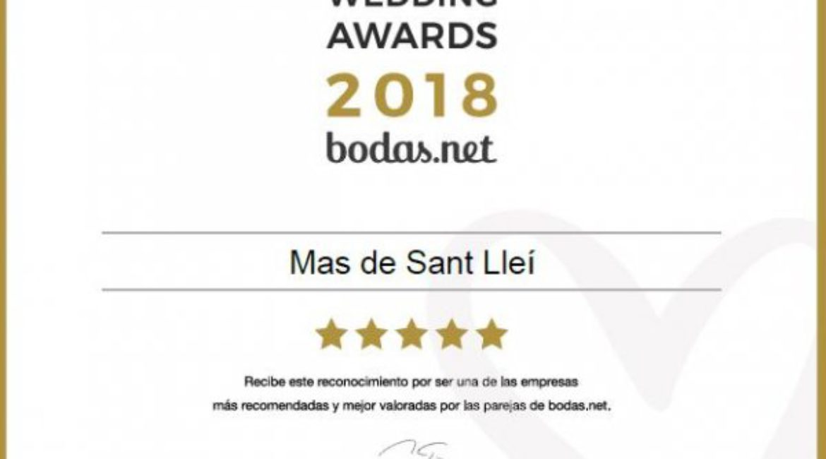 Mas de Sant LLeí gets the wedding award: Wedding Awards 2018