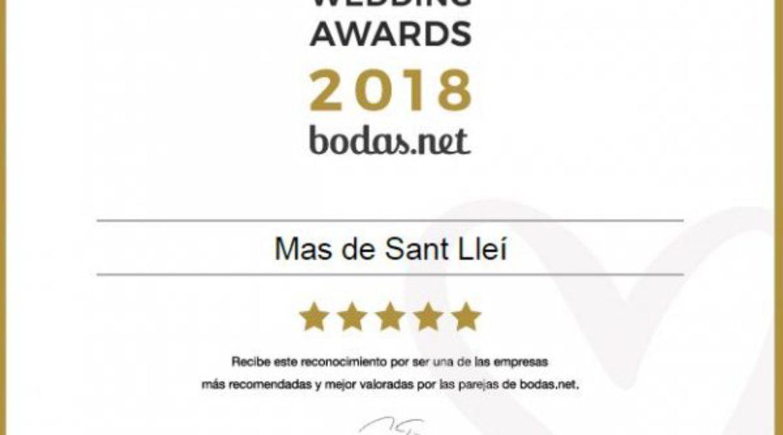 Mas de Sant LLeí es fa amb el guardó de noces: Wedding Awards 2018
